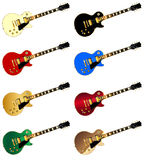 Assorted Rock Guitars In Colors Royalty Free Stock Image