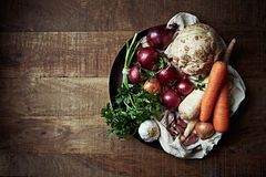 Assorted root vegetables and onions Royalty Free Stock Photo