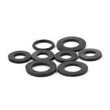 Assorted rubber O rings, isolated. Black color stock photo
