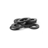 Assorted rubber O rings, isolated. Black color royalty free stock images