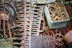Assorted rusted tools Royalty Free Stock Photo