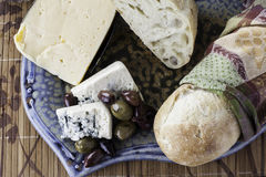Assorted Rustic breads and cheeses Stock Image