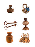 Assorted rusty metal  objects on white Royalty Free Stock Image