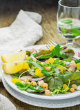 Assorted salad with arugula, spinach, chard Stock Photo