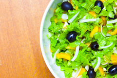 Assorted salad of green leaf lettuce with squid and black olives Stock Photos