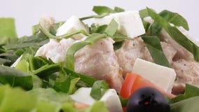 Assorted salad on lettuce leaves stock video