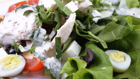Assorted salad on lettuce leaves stock footage
