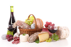 Assorted salami,cheese and wine Stock Photos