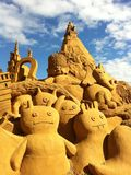Assorted Sand Sculpture at sand sculpting exhibition Royalty Free Stock Image