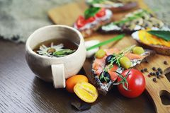 Assorted sandwiches with different fillings, fish mushrooms and. Vegetablesr stock photos