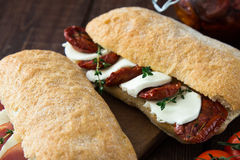 Assorted sandwiches. sandwich Caprese with mozzarella and sun-dr Stock Photos
