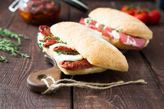 Assorted sandwiches. sandwich Caprese with mozzarella and sun-dr Royalty Free Stock Photos