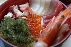 Assorted Sashimi in Restaurant in Okinawa, Japan. Assorted Sashimi include Prawn, Scallop, tuna, sea grape in Uminchu Restaurant, Travel in Okinawa, Japan Royalty Free Stock Images