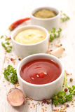 Assorted sauce and dips Stock Photo