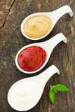 Assorted sauces: Royalty Free Stock Photography