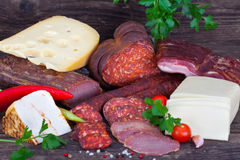 Assorted sausages and cheese Stock Photo