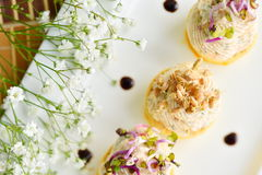 Assorted savoury holiday snacks on plate Royalty Free Stock Images