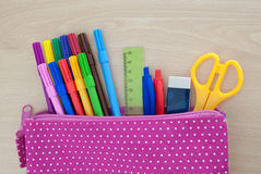 Assorted school supplies Stock Images
