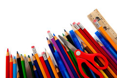 Assorted school supplies on white Royalty Free Stock Images