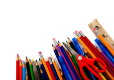 Assorted school supplies on white Royalty Free Stock Photos