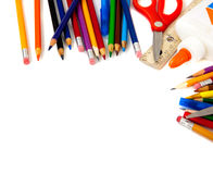 Assorted school supplies on a white background stock photography