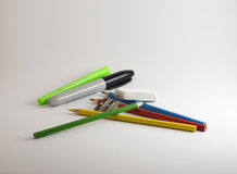 Assorted School Supplies on White Background Stock Photos