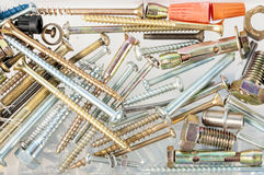 Assorted screws and fasteners Stock Photos