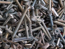 Assorted screws and fixings. Royalty Free Stock Photography