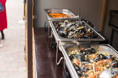 Assorted seafood on a buffet display Royalty Free Stock Image