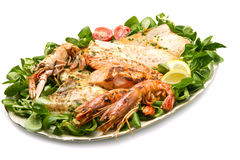 Assorted seafood grilled Royalty Free Stock Images
