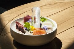 Assorted seafood on an ice plate royalty free stock photography