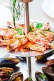 Assorted seafood, prawns, mussels, calamari,close up,selective f Stock Photo