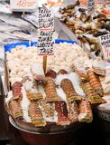 Assorted Seafood for sale. In a public market royalty free stock image