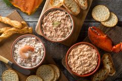 Assorted Seafood Spreads and Dips. An assortment of delicious seafood dips including lobster dip, smokeds salmon dip, and shrimp dip Royalty Free Stock Images