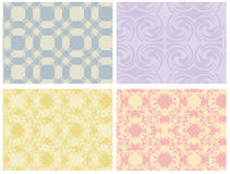 Assorted Seamless Patterns. Vector art in Illustrator 8. Four seamless patterns. Two swirly and two funky versions of Victorian wallpaper. Drag into swatches to Stock Photos