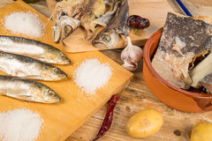 Assorted secó pescados Foto de archivo libre de regalías