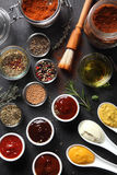 Assorted Seed Type Spices And Sauces On The Table Royalty Free Stock Photos