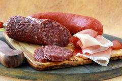 Assorted several kinds of sausages Stock Photography