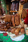 Assorted several kinds of sausages and smoked meats, Royalty Free Stock Photography