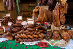 Assorted several kinds of sausages and smoked meats, Royalty Free Stock Images