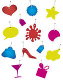 Assorted shaped price label. Label heart shape, lady shoes, speech bubble, star, gift, vector Royalty Free Stock Images