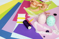 Assorted sheets of color paper and Scrapbook Stock Photo