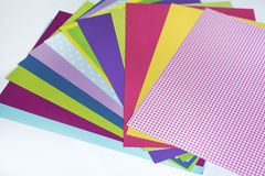 Assorted sheets of color paper. Royalty Free Stock Image