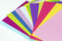 Assorted sheets of color paper. Royalty Free Stock Photo