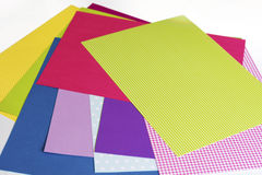 Assorted sheets of color paper. Royalty Free Stock Photos