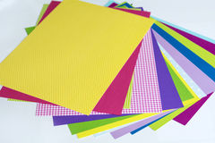 Assorted sheets of color paper. Stock Images