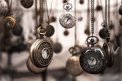Assorted Silver-colored Pocket Watch Lot Selective Focus Photo Stock Photos
