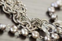 Assorted silver costume jewellery Stock Photo