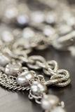 Assorted silver costume jewellery Stock Images