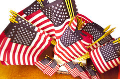 Assorted Sizes of American Flags Stock Images